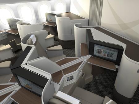 Asientos de clase Business del Boeing 787 de Saudia.