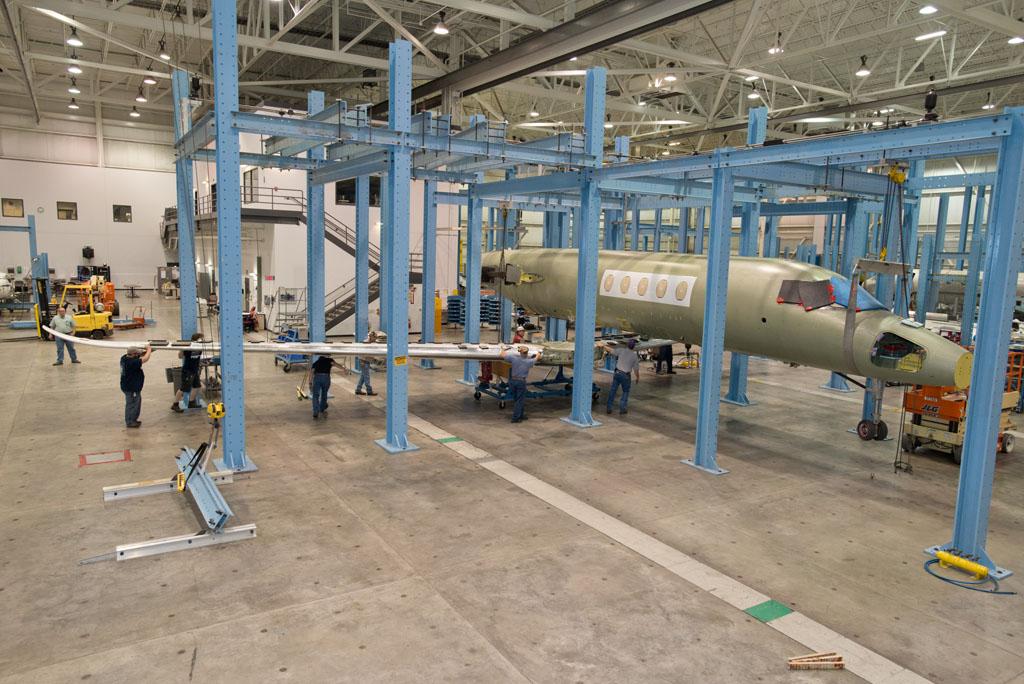 Unión de alas y fuselaje en el Cessna Citation Latitude