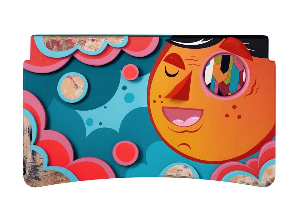 Alex Yanes (Sao Paulo) – Alex se inspiró en el arte callejero de Sao Paulo para crear este retrato de un muchacho lleno de optimismo mientras vuela sobre la ciudad.