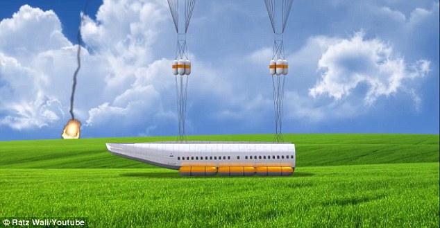 El fuselaje, una vez desprendido de las alas, descendería con paracaídas y usaría airbags para amortiguar el impacto contra el suelo o el agua. En este caso también servirían de flotadores.
