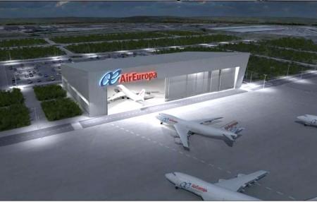 Imagen facilitada por Eurofinsa con el aspecto que tendrá el nuevo hangar de Air Europa en Madrid.
