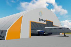 Aspecto que ofrecerá el hangar de Brok Air en Castellón una vez entre en servicio.