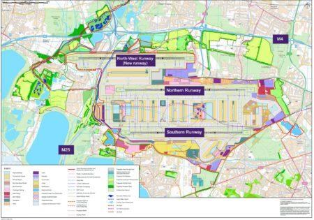 Mapa del aeropuerto de Heathrow con las distintas actuaciones previstas para su ampliación.