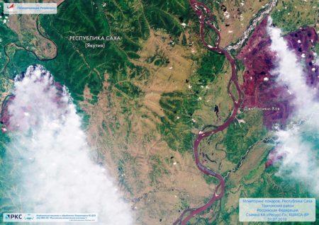 Incendios en la región de Yakutia fotografiados desde el espacio el pasado 2 de agosto por Roscosmos.