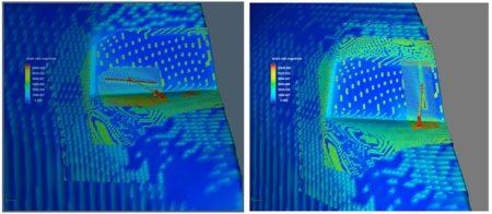 Imagen de los estudios  que muestra la resistencia aerodinámica del frontal del KC-135 con los limpiaparabrisas en horizontal y vertical.