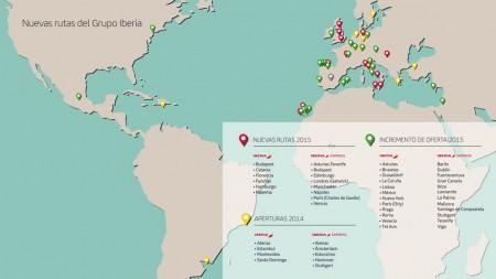 Nuevas rutas y frecuencias de Iberia e Iberia Express en 2014 y 2015.