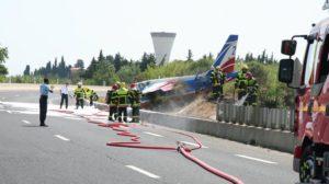 El Alphajet tal y como ha quedado tras la salida de pista en Perpiñán.