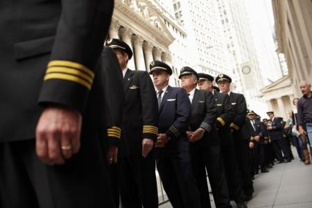 Pilotos estadounidenses durante una protesta en Nueva York