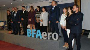 Autoridades y directivos de las empresas relacionadas con BFAero en la presentación de la segunda convocatortia de plazas para la aceleradora.