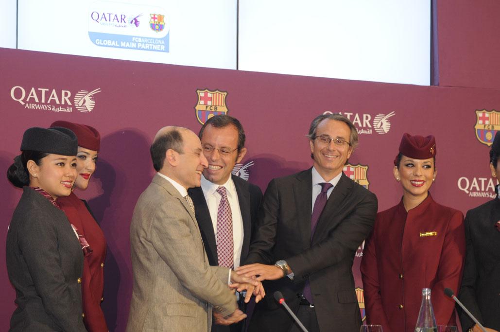 prssentacion del acuerdo entre Qatar Airways y FC Barcelona