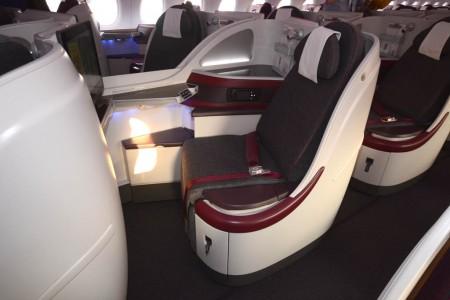 Asiento de clase business del Airbus A380 de Qatar Airways.
