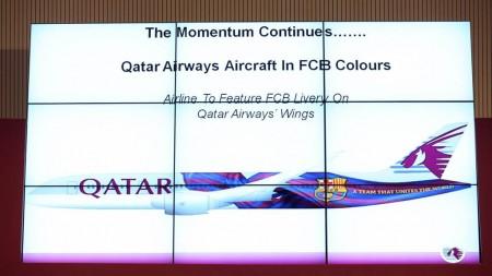 Imagen del Boeing 787 de Qatar Airways y el FC Barcelona