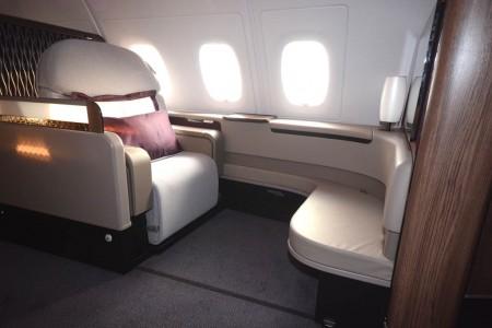 Asiento de primera clase del Airbus A380 de Qatar Airways.
