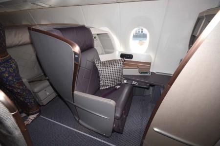 Asiento de clase business de los Airbus A350 de Singapore Airlines.