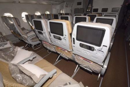 Asientos de clase turista del A350 de Singapore Airlines.