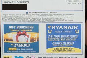 Tarjeta de embarque de Ryanair impresa desde su web.