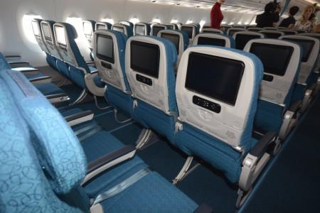 Asientos de clase turista del Airbus A350 de Vietnam Airlines.