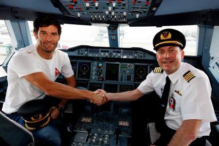 Webber en el cockpit del Airbus A380